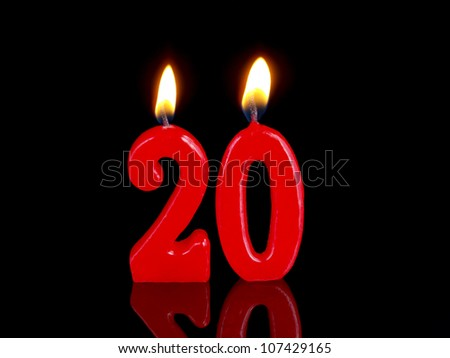 Birthday-anniversary candles showing Nr. 20 - stock photo