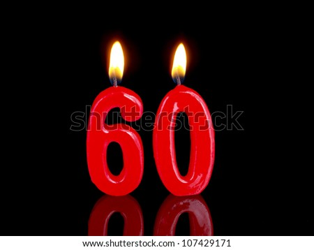 Birthday-anniversary candles showing Nr. 60 - stock photo