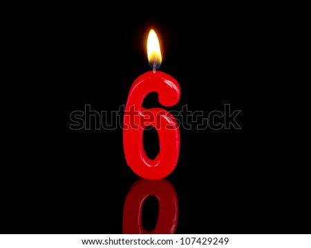 Birthday-anniversary candles showing Nr. 6 - stock photo