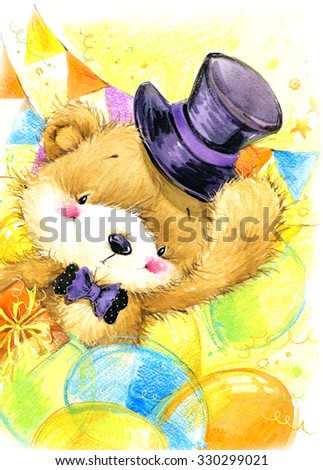 Birthday background and cute toy teddy bear. watercolor illustration - stock photo