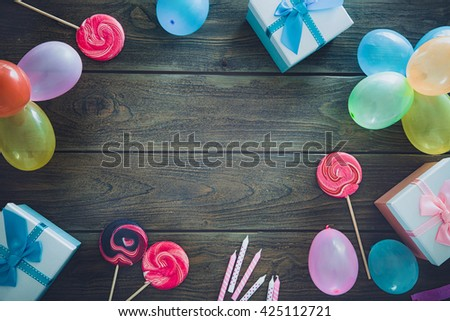 Birthday background. Birthday celebration with copy space. Birthday greeting card - stock photo
