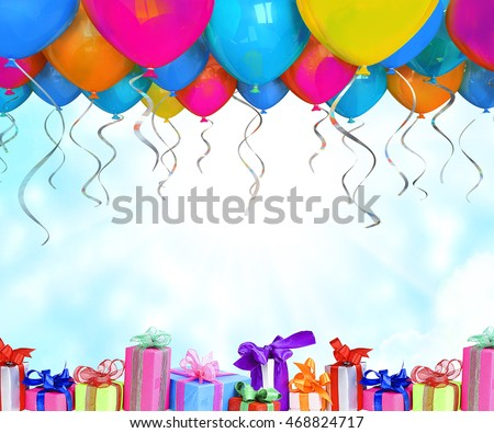 birthday background balloons gifts stock photo edit now 468824717