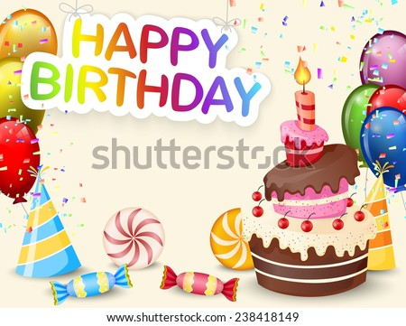 Birthday background with birthday cake and colorful balloon - stock photo