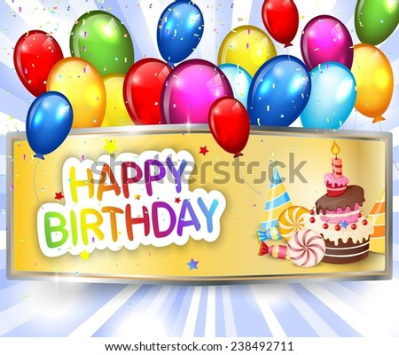 Birthday background with colorful balloon - stock photo