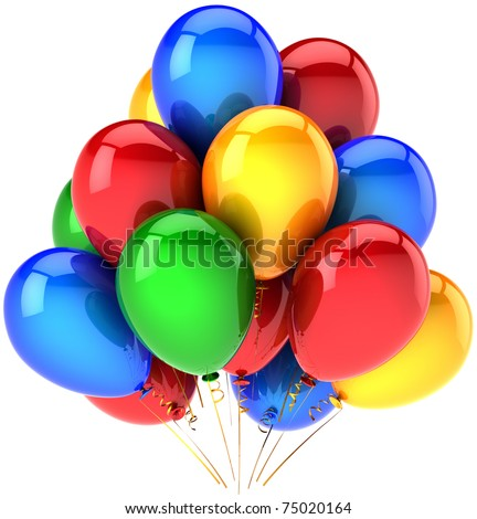 Birthday balloons decoration rainbow multicolor. Happy positive friendly emotion abstract. Party celebration anniversary jubilee greeting card concept. Detailed 3d render isolated on white background - stock photo