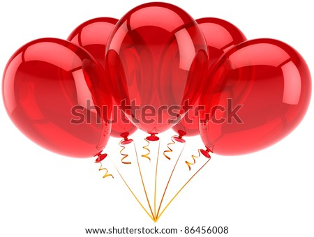 Birthday balloons party balloon 5 five red decoration. Anniversary retirement announcement occasion graduation life events greeting card concept. 3d render isolated on white background - stock photo
