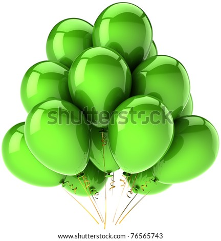 Birthday balloons party decoration green. Anniversary holiday celebration greeting card concept. Happy fun joy positive emotion abstract. Detailed 3d render. Isolated on white background - stock photo
