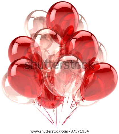 Birthday balloons party decoration red pink balloon translucent. Holiday anniversary retirement graduation life events celebration. Fun joy happy emotion icon. 3d render isolated on white background - stock photo