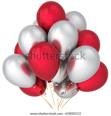 Birthday balloons red white party balloon colorful baloons. New years eve merry christmas anniversary graduation retirement life events decoration. Fun joy icon. 3d render isolated on white background - stock photo