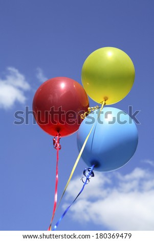 Birthday balloons with blue sky and cloud as background