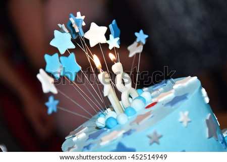 Birthday Blue Cake With Candle  - stock photo