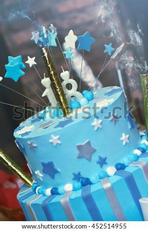 Birthday Blue Cake with smoke - stock photo