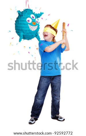 Birthday boy with pinata over the white background - stock photo