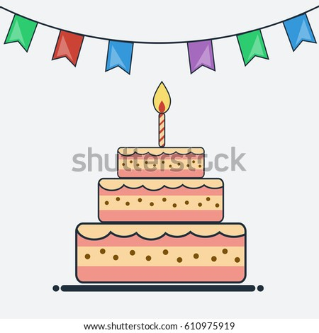 Cute Happy Birthday Card Birthday Cake Vector 171692030 – Birthday Cake Card Template