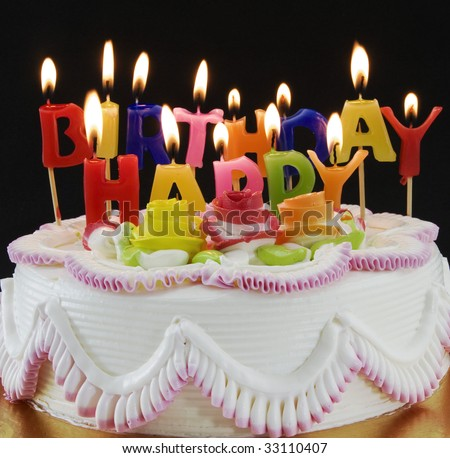 Birthday  cake  and candels - stock photo