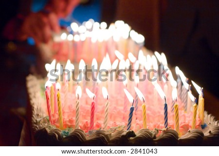 birthday cake and candles on it - stock photo