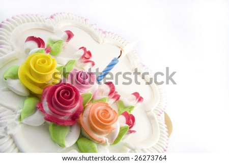 birthday  cake and  one candle - stock photo