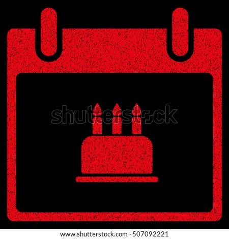 Birthday Cake Calendar Day Grainy Textured Stock Vector 506045899