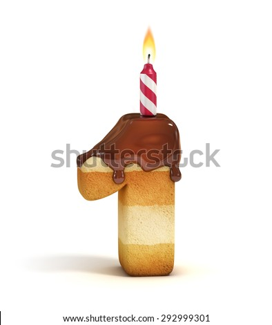 Birthday cake font number 1 - stock photo