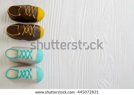 birthday cake for any males special day, Copyspace, top view - stock photo