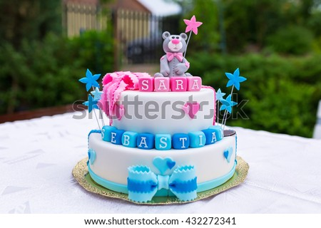 Birthday Cake Baby Boy Girl Twins Stock Photo Royalty Free