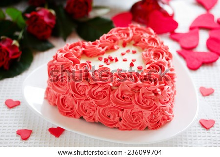 Birthday Cake Valentines Day Roses Stock Photo 100 Legal