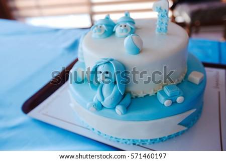 Birthday Cake 1 Year Old Boy Stock Photo Royalty Free 571460197