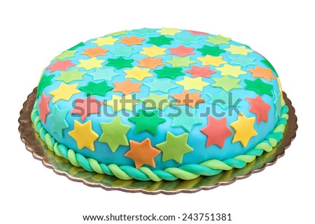 Birthday cake from sugar mass. On a white background. - stock photo