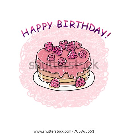 Birthday Cake. Happy Birthday Card Template.