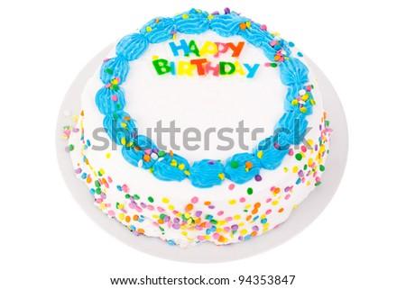 Birthday cake isolated on white - stock photo