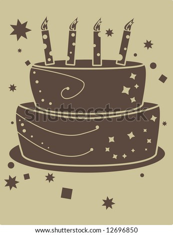 birthday cake - jpg version - stock photo