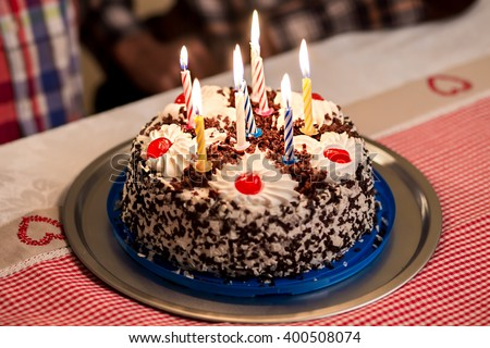 Birthday Cake On Table Small Birthday Stock Photo Royalty Free