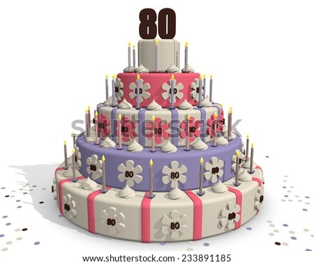 Birthday cake or cake for an anniversary - 80 years - stock photo