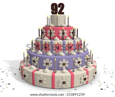 Birthday cake or cake for an anniversary - 92 years - stock photo
