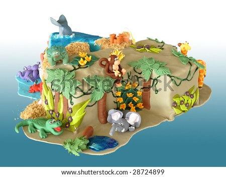 Birthday cake, shaped like the number four, decorated with edible animals from the jungle and the sea - stock photo
