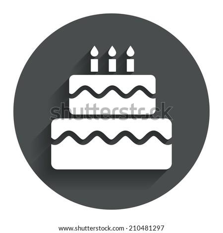 Birthday Cake Sign Icon Cake Burning Stock Illustration 210481297