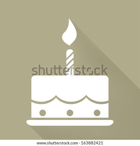 Birthday cake web icon - stock photo