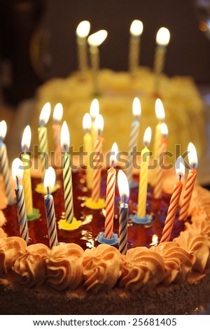 birthday cake with a lot Candles - stock photo