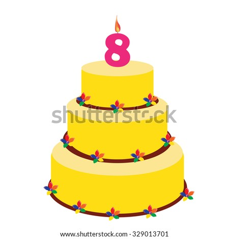Birthday Cake With Candle Number Eight On Top Eighth