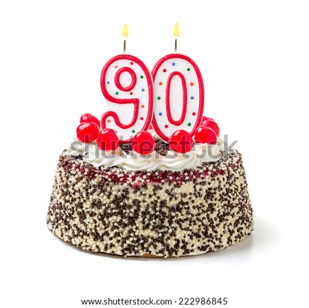 Birthday cake with burning candle number 90 - stock photo