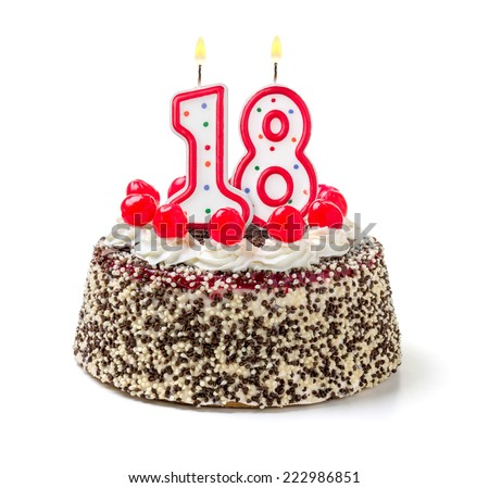 Birthday cake with burning candle number 18 - stock photo