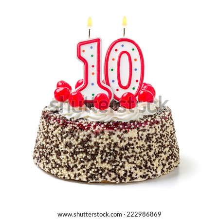 Birthday cake with burning candle number 10 - stock photo