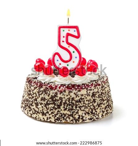 Birthday cake with burning candle number 5 - stock photo