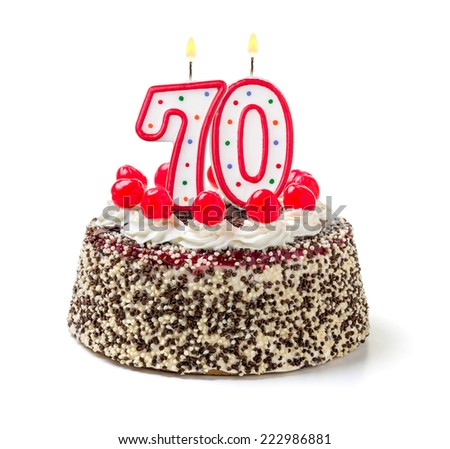 Birthday cake with burning candle number 70 - stock photo