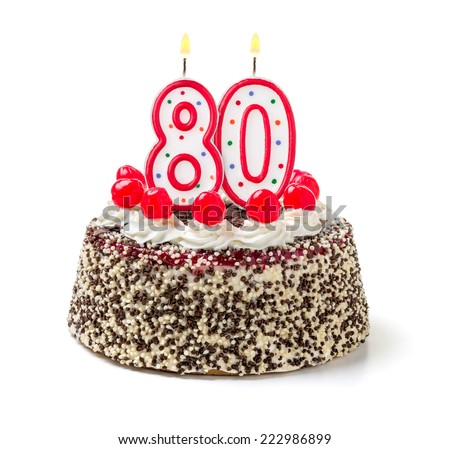 Birthday cake with burning candle number 80 - stock photo