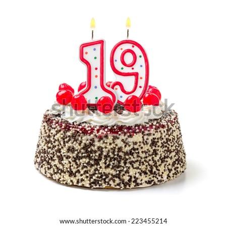 Birthday Cake Burning Candle Number 19 Stock Photo