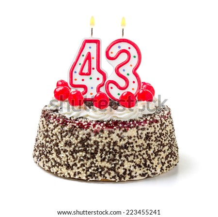 Birthday cake with burning candle number 43 - stock photo