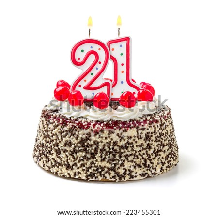 Birthday cake with burning candle number 21 - stock photo
