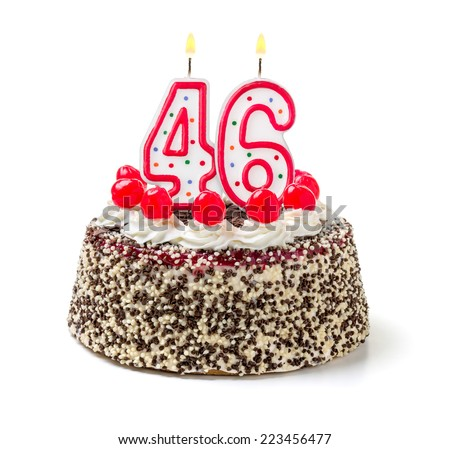 Birthday cake burning candle number 46 stock photo 223456477 birthday cake with burning candle number 46 sciox Image collections