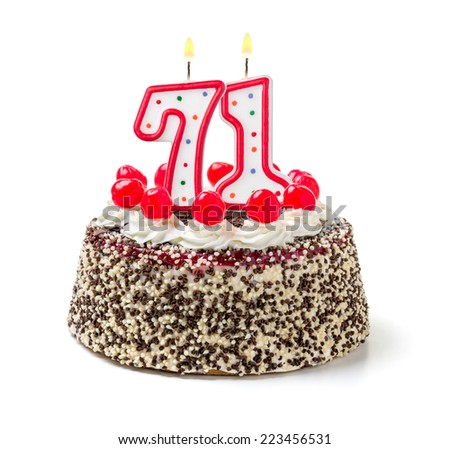 Birthday cake with burning candle number 71 - stock photo